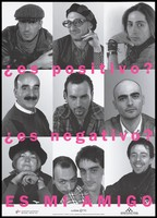 """view Mug shots of men, a woman and a gay couple representing an advertisement for 'Cuídate '95', the """"Look after yourself '95"""" AIDS prevention campaign by the Coordinadora gai-lesbiana. Colour lithograph by Ricard Marin and Louis Pastoor, 1995."""