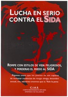 view The negative impression of 3 profile male faces in red and black with a message about the need to fight against AIDS and risky behaviour; an advertisement by the Independent Anti-AIDS Committee in Valladolid. Colour lithograph.
