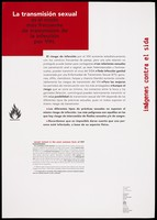 view An information sheet about an anti-AIDS poster exhibition designed and produced by Artis as part of a collaboration with the Unesco/WHO AIDS prevention education programme; with explanation about sexual transmission of the disease and the difficulty in identifying HIV infection. Colour lithograph, ca. 1990's.