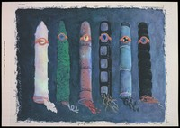 view A variety of 6 condoms arranged horizontally in the guise of rockets with a border of lettering incorporating the repeated words '6 proposicións' [6 propositions; advertising the danger of AIDS. Colour lithograph by Elvis López, [1995].