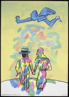 view A couple walking hand-in-hand as a blue winged angel hovers above them; advertising the danger of AIDS. Colour lithograph by Antonio Seguí, 1994.