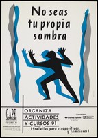view A black and blue figure appear to dance with arms raised between parallel black and blue lines either side of them representing an advertisement for G.A.P.E., a group for those with HIV and AIDS in Zaragoza [?]. Colour lithograph by Orravan Aicul Oñesid.