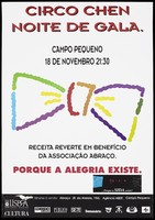 view The outline of a clown's bow-tie in multi-coloured wavy lines representing an advertisement for a gala circus night by Circo Chen at Campo Pequeno on 18 November to benefit the AIDS organisation Abraco. Colour lithograph, 199-.
