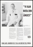 view Charles Håkansson, a doctor for gay men at the Sahlgrenska Hospital in Gothenburg. Lithograph by Ted Bates, ca. 1995.