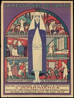 view A nurse, with activities performed by nurses. Colour lithograph by G. Hazan.
