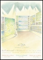 view An art gallery with paintings featuring condoms and the names of men; advertising an art exhibition on AIDS prevention. Colour lithograph after L. Nitka for Landstinget förebygger AIDS, 1993.