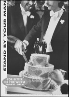 view A gay couple cutting their wedding cake; a safe sex and AIDS prevention advertisement for gay and bisexual men by the Landsforeningen for Bøsser og Lesbiske. Lithograph by Robin Skjoldborg, ca. 1995.
