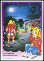 view A man sitting down looking upset because of a positive HIV test result beside him; he remembers the night he had unprotected sex with a woman outside a disco; a safe sex and AIDS prevention advertisement by the Landsforeningen Ungdomsringen. Colour lithograph by Robert Lindvig, 1994.
