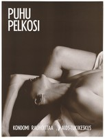 view A man lying with one arm covering his head next to his partner; a safe-sex and AIDS prevention advertisement for the AIDS-Tukikeskus, the AIDS support centre by the Finnish AIDS Council. Colour lithograph, ca. 1995.