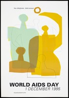 view The yellow and green silhouettes of abstract figures with the statement 'Equal rights shared responsibility' representing an advertisement for World AIDS Day on 1st December 1995 by the Folkhälsoinstitutet [National Public Health Institute]. Colour lithograph, 1995.
