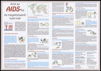 view An information sheet on HIV and AIDS and prevention measures with cartoon characters and a world map highlighting the statistics of the AIDS epidemic; an advertisement by.