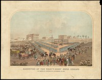 view Dakota War of 1862 (Sioux Uprising): the mass hanging of Sioux Native Americans at Mankato. Colour lithograph, 1863.