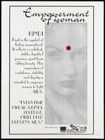 view A woman with a red Bindi spot representing a pledge to fight AIDS; an advertisement by the Arcon, the Lions Club of Bombay Hilltop and the HIV/AIDS Information and Guidance Centre in Bombay. Lithograph, ca. 1996.