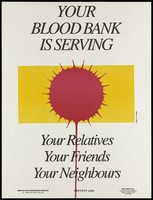 view A dripping blood droplet against a yellow background representing an advertisement for blood banks as part of the AIDS prevention scheme by the AIIMS Blood Transfusion Service and NGO AIDS Cell, New Delhi. Colour lithograph by N.R. Nanda, ca. 1994.