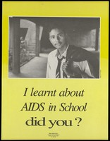 view A youth wearing a tie with his jacket slung over his shoulder with the statement 'I learnt about AIDS in school'; an AIDS prevention advertisement for the NGO AIDS Cell Centre for Community Medicine in New Delhi. Colour lithograph by N.R. Nanda, ca. March 1994.