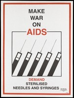view Five black and white syringes representing an advertisement for sterilisation of needles and syringes to prevent AIDS; by the NGO AIDS Cell Centre for Community Medicine in New Delhi. Colour lithograph by Ayuha (?), ca. December 1992.