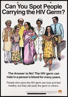 view Men and women with the question how do you spot those with HIV; one of a series of educational posters issued by the Committed Communities Development Trust in Mumbai. Colour lithograph, ca. 1997.