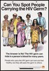 Men and women with the question how do you spot those with HIV; one of a series of educational posters issued by the Committed Communities Development Trust in Mumbai. Colour lithograph, ca. 1997.