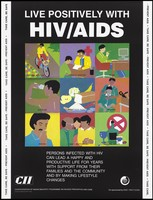 view Nine illustrations demonstrating ways of living positively with HIV/AIDS from riding a bike to avoiding alcohol, smoking and drugs; an AIDS prevention advertisement by the CII, the Confederation of Indian Industry programme on HIV/AIDS prevention and care. Colour lithograph by amita P. Gupta, ca. 1997.