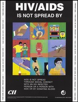 view Nine illustrations demonstrating ways in which HIV/AIDS is not spread from touching or hugging to coughing or sneezing; an AIDS prevention advertisement by the CII, the Confederation of Indian Industry programme on HIV/AIDS prevention and care. Colour lithograph by Amita P. Gupta, ca. 1997.