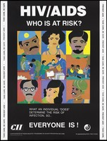 view The faces of men and women and people at work highlighting that everyone is at risk of HIV/AIDS; an AIDS prevention advertisement by the CII, the Confederation of Indian Industry programme on HIV/AIDS prevention and care. Colour lithograph by Amita P. Gupta, ca. 1997.