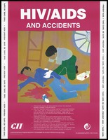 view A first-aider tends to a man bleeding profusely after a fall off a broken ladder; a message about HIV/AIDS and accidents in the workplace; an AIDS prevention advertisement by the CII, the Confederation of Indian Industry programme on HIV/AIDS prevention and care. Colour lithograph by Amita P. Gupta, ca. 1997.
