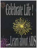 view Yellow, pink and orange fireworks representing a celebration of life as an advertisement for learning about AIDS by INSA, International Services Association in Banagalore. Colour lithograph, ca. 1997.