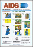view An illustrated AIDS prevention information sheet showing how HIV is and is not spread by the Papua New Guinea Department of Health. Colour lithograph, ca. 1995.