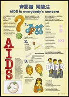 view An illustrated fact sheet about AIDS and HIV with illustrations explaining the 3 routes of transmission of the disease, how HIV is not spread and what to do if a classmate has HIV; an advertisement designed by the Government Information Services, Hong Kong. Colour lithograph, ca. 1995.