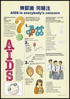 view An illustrated fact sheet about AIDS and HIV with illustrations explaining the 3 routes of transmission of the disease, how HIV is not spread and what to do if a classmate has HIV; an advertisement designed by the Government Information Services, Hong Kong (larger version). Colour lithograph, ca. 1995.