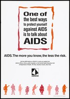 view A row of men and women along the bottom with a message about the best way to protect against AIDS is to talk about it; an advertisement issued by the Central Health Education Unit, Department of Health. Colour lithograph, ca. 1995.