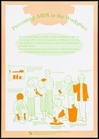 view An illustrated information sheet on how to prevent AIDS in the workplace issued by the AIDS Unit Department of Health, Government of Hong Kong. Colour lithograph, ca. 1995.