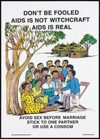 view A group of young people sitting under a tree being taught the 'Facts about AIDS' by a man sitting in a chair with thatched mud houses beyond; a safe-sex and AIDS prevention advertisement by the NGO AIDS Consortium with PATH in Kenya. Colour lithograph, ca. 1997.