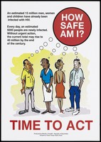 view Two couples wondering how safe they are from AIDS (English version); a safe-sex and AIDS prevention advertisement by the Ministry of Health - Republic of Seychelles. Colour lithograph by Classic Design Graphic Studio, ca. 1996.