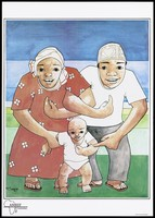 view A man and woman wearing a hat and head scarf link arms together with their baby below representing families uniting against AIDS; an AIDS prevention advertisement by Amref, Tanzania. Colour lithograph by M. Sawaya, 1991.