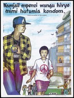 view A woman wearing a t-shirt with the peace logo walking beside a man in a check shirt holding a pack of Salam condoms; a safe-sex and AIDS prevention advertisement by the Kuleana Centre for Sexual Health in Tanzania. Colour lithograph by Marco Tibasima, ca. 1997.