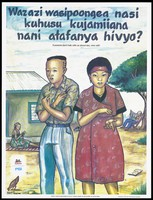 view A young man with his arms crossed against his chest and a young woman gesturing with her hands as their woman braids material and their father sits reading a paper beyond; a representing a safe-sex and AIDS prevention advertisement by the Kuleana Centre for Sexual Health in Tanzania. Colour lithograph by Marco Tibasima, ca. 1997.