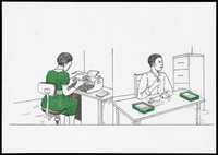 view A woman sits typing at a desk in an office and another holds her shirt as she sits with papers in front of her at another desk; women who have avoided AIDS and are supporting themselves financially; an AIDS prevention advertisement by the AIDS Control Programme, Ministry of Health, Uganda. Colour lithograph by Bayo, ca. 1995.