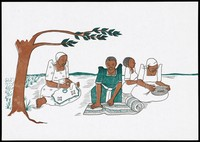 view Four women sit emboidering and making rugs in a rural setting; representing women who have avoided AIDS and are supporting themselves financially; an AIDS prevention advertisement by the AIDS Control Programme, Ministry of Health, Uganda. Colour lithograph, ca. 1995.