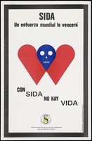 view Two red hearts joining in the middle to form a blue skull representing a warning about the dangers of death from AIDS by the Departamento de Salud del Gobierno del Estado de Jalisco. Colour lithograph, ca. 1994.