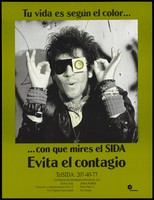 view A man in a leather jacket wearing sunglasses with one eye covered with a green condom; a warning about the dangers of being (colour) blind to AIDS by ConaSIDA. Colour lithograph by Gabriel Figueroa Flores, ca. 1994.