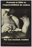 view A naked man puts a condom into the hand of his partner behind him; a safe sex and AIDS prevention advertisement from Mexico. Lithograph, ca. 1994.