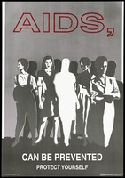 view Women from different professions with one figure blanked out in white representing a warning to women about AIDS; advertisement by the NAC/IEC (National AIDS Commission), Belize. Colour lithograp by Artworks/Visual Impact, 1993.