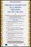 view A declaration of rights for those with HIV or AIDS issued by the Fundasida, Department of AIDS control, Ministry of Health, Costa Rica. Colour lithograph, 1995.