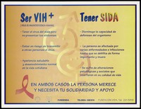 view A list of issues affecting those who are HIV positive or who have AIDS by the Fundasida, Department of AIDS control, Ministry of Health, Costa Rica. Colour lithograph, ca. 1997.