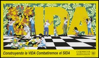 view Men, women and children decorating the words 'SIDA' against a floral background and a chequered floor; an AIDS prevention advertisement by Coprecos. Colour lithograph by Paco San Martin, 1994.