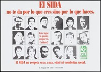 view The faces of men and women representing the warning that AIDS does not respect respect sex, race, age or social status; advertisement by Via Libre, Peru. Colour lithograph, ca. 1995.