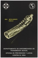 view A ribbed condom against a black background representing a safe-sex and AIDS prevention advertisement by the Departemento de Enfermedades de Transmision Sexual, Venezuela. Colour lithograph, ca.