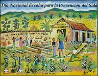 view Children tending a garden and illustrating a wall with the words 'un compromiso con la vida' within a school in Venezuela to promote AIDS prevention day on 23rd May (1995). Colour lithograph by Angeles, 1995.