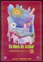view Two women hold up another woman between them, a dove, a personified sun and a flower with facts about AIDS and HIV in Venezuela; an AIDS prevention advertisement. Colour lithograph by Marco Caamaño, 1993.